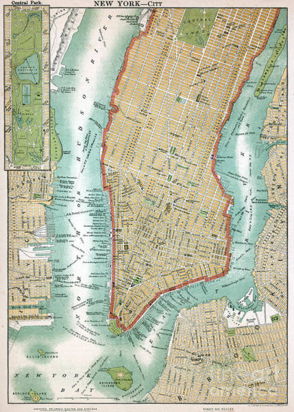 New York City Map Drawing - Antique Map Of Lower Manhattan And Central Park by American School