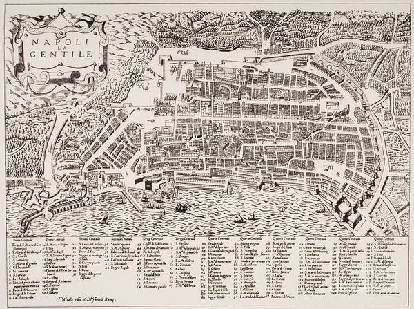Area Painting - Antique Map Of Naples by Italian School