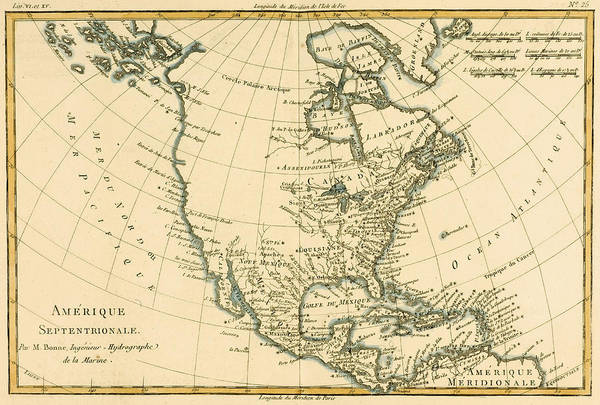 American Drawing - Antique Map Of North America by Guillaume Raynal