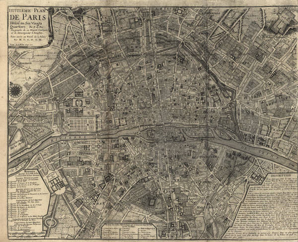Wall Art - Drawing - Antique Map Of Paris France By Nicolas De Fer - 1705 by Blue Monocle