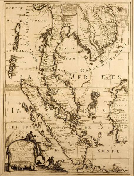 South Drawing - Antique Map Of South East Asia by French School