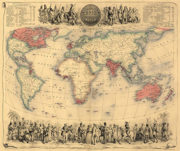 Empire Drawing - Antique Map Of The British Empire Circa 1870 by English School