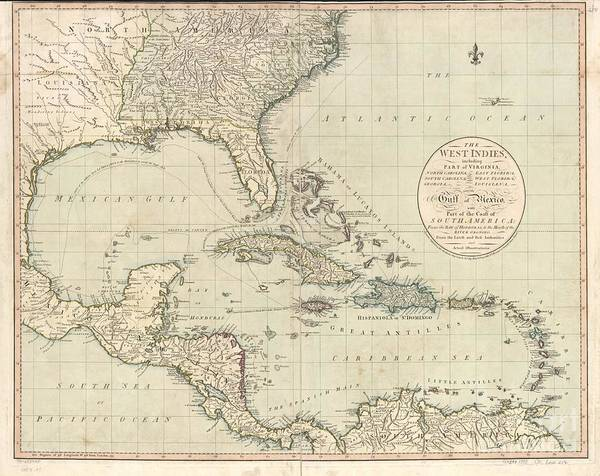 Painting - Antique Map Of The Caribbean And Central America By John Cary by Celestial Images