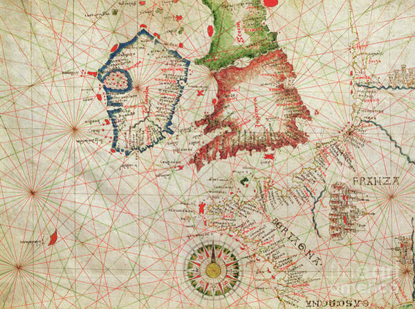 Mapping Drawing - Antique Map Of The French Coast, England, Scotland And Ireland, From A Nautical Atlas, 1520  by Giovanni Xenodocus da Corfu