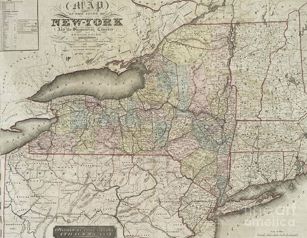 Wall Art - Drawing - Antique Map Of The State Of New York And The Surrounding Country by David H Burr
