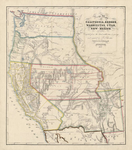 Wall Art - Drawing - Antique Map Of The Western United States By John Disturnell - 1853 by Blue Monocle