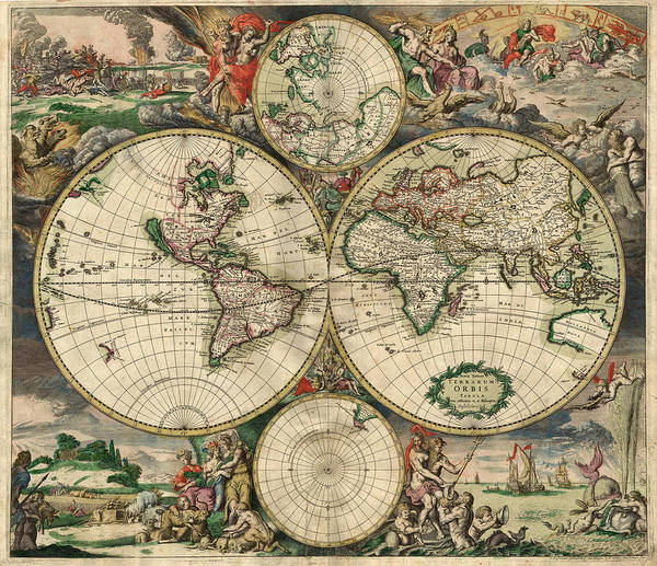 Painting - Antique Map Of The World - 1689 by Marianna Mills