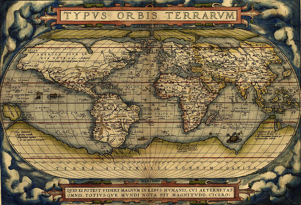 Painting - Antique Map Of The World By Abraham Ortelius - 1564 by Marianna Mills