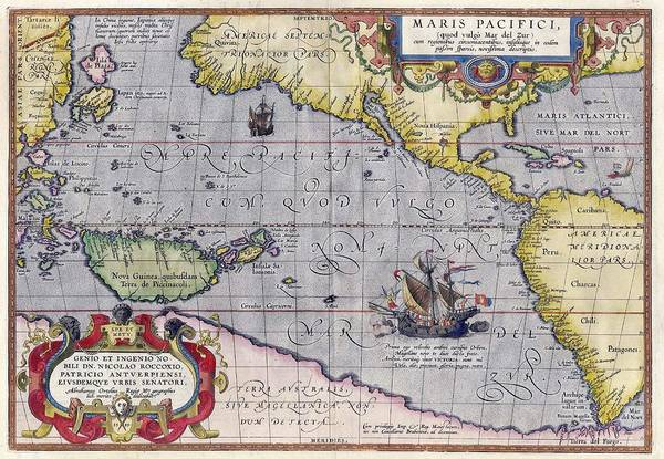 Painting - Antique Map Of The World By Abraham Ortelius - 1589 by Marianna Mills