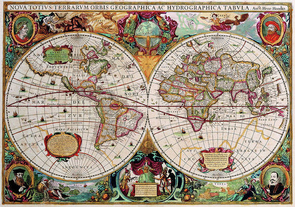 Drawing - Antique Map Of The World - Double Hemisphere by Peggy Collins