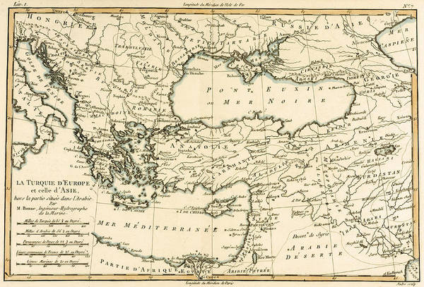 Cyprus Wall Art - Drawing - Antique Map Of Turkey by Guillaume Raynal