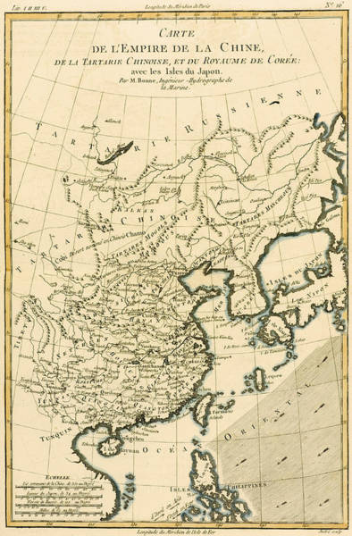 South Island Drawing - Antique Map The Chinese Empire by Guillaume Raynal