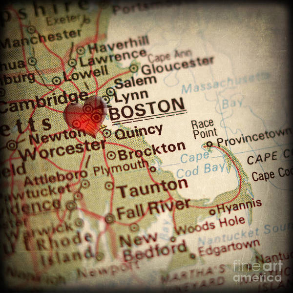 Wall Art - Photograph - Antique Map With A Heart Over The City Of Boston In Massachusett by ELITE IMAGE photography By Chad McDermott