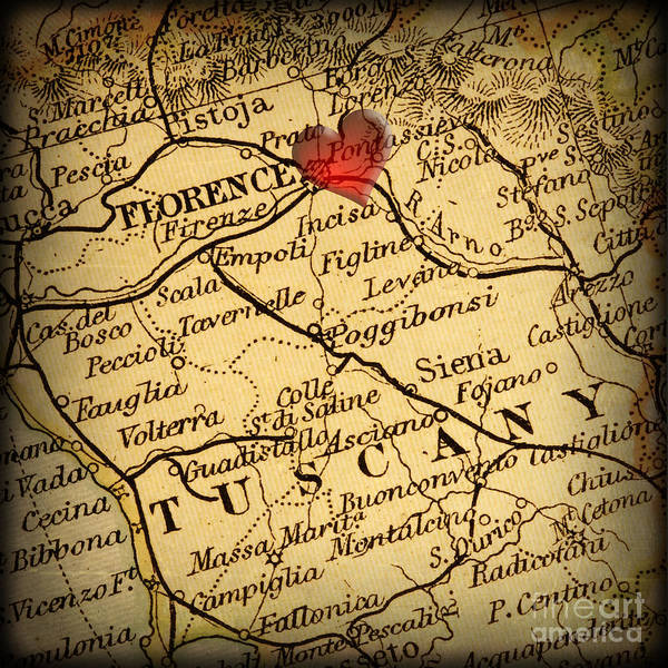 Road Map Photograph - Antique Map With A Heart Over The City Of Florence In Italy by ELITE IMAGE photography By Chad McDermott