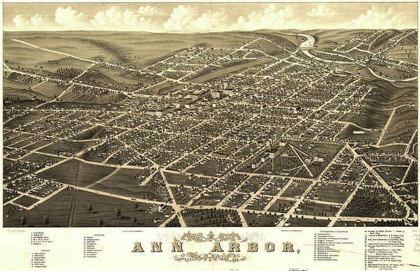 Michigan Drawing - Antique Maps - Old Cartographic Maps - Antique Birds Eye View Map Of Ann Arbor, Michigan, 1880 by Studio Grafiikka