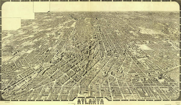 Eye Drawing - Antique Maps - Old Cartographic Maps - Antique Birds Eye View Map Of Atlanta by Studio Grafiikka