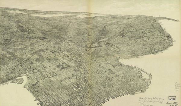 Wall Art - Drawing - Antique Maps - Old Cartographic Maps - Antique Birds Eye View Map Of Brooklyn, New York, 1975 by Studio Grafiikka