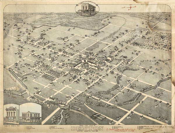 Eye Drawing - Antique Maps - Old Cartographic Maps - Antique Birds Eye View Map Of Denton, Texas, 1883 by Studio Grafiikka