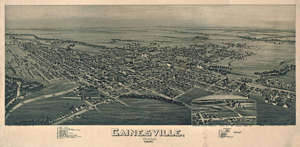 Wall Art - Drawing - Antique Maps - Old Cartographic Maps - Antique Birds Eye View Map Of Gainesville, Texas, 1891 by Studio Grafiikka