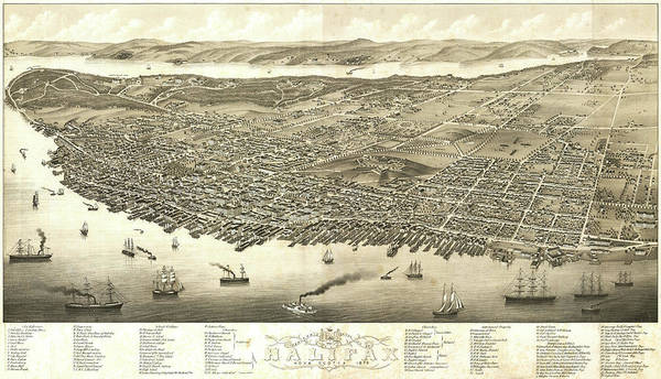 Halifax Wall Art - Drawing - Antique Maps - Old Cartographic Maps - Antique Birds Eye View Map Of Halifax, Nova Scotia, 1879 by Studio Grafiikka