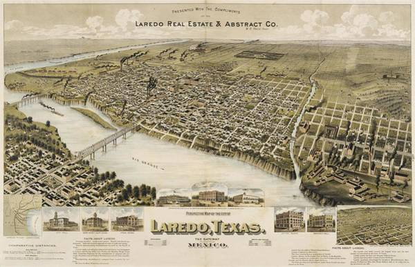 Wall Art - Drawing - Antique Maps - Old Cartographic Maps - Antique Birds Eye View Map Of Laredo, Texas, Mexico, 1892 by Studio Grafiikka