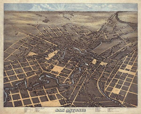 Wall Art - Drawing - Antique Maps - Old Cartographic Maps - Antique Birds Eye View Map Of San Antonio, Texas, 1873 by Studio Grafiikka