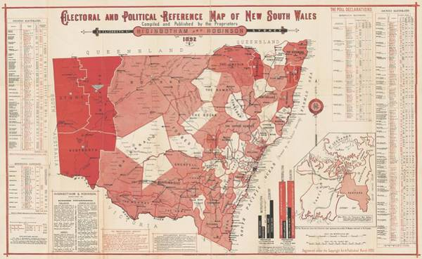Wales Drawing - Antique Maps - Old Cartographic Maps - Antique Electoral And Political Map Of New South Wales, 1892 by Studio Grafiikka