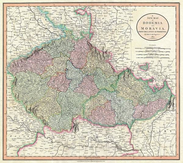 Wall Art - Drawing - Antique Maps - Old Cartographic Maps - Antique Map Of Bohemia And Moravia, 1801 by Studio Grafiikka