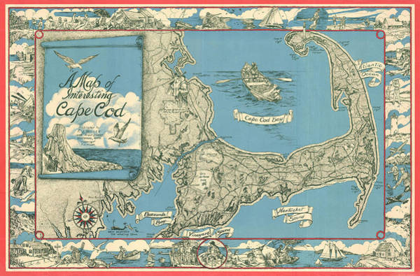Wall Art - Drawing - Antique Maps - Old Cartographic Maps - Antique Map Of Cape Cod, Massachusetts, 1945 by Studio Grafiikka