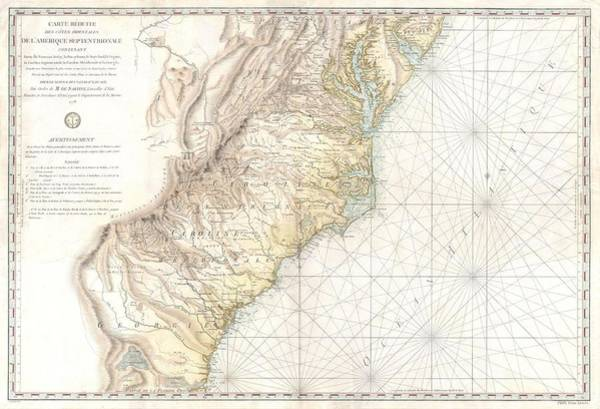 South Georgia Wall Art - Drawing - Antique Maps - Old Cartographic Maps - Antique Map Of Georgia, North And South Carolina, Maryland by Studio Grafiikka
