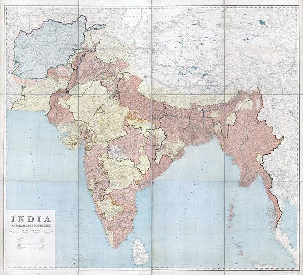 India Drawing - Antique Maps - Old Cartographic Maps - Antique Map Of India And Adjacent Countries, 1915 by Studio Grafiikka