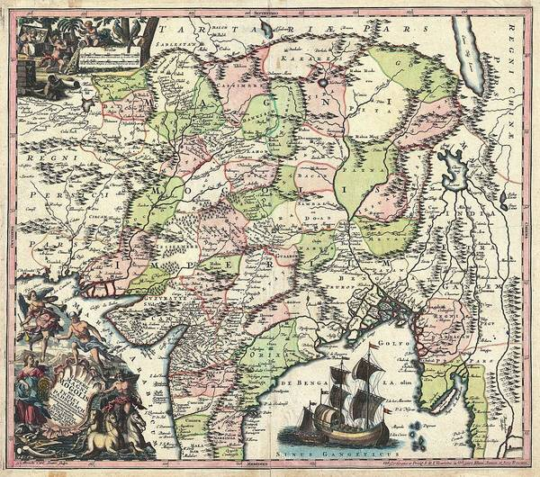 India Drawing - Antique Maps - Old Cartographic Maps - Antique Map Of India, Pakistan, Tibet And Afghanistan, 1740 by Studio Grafiikka