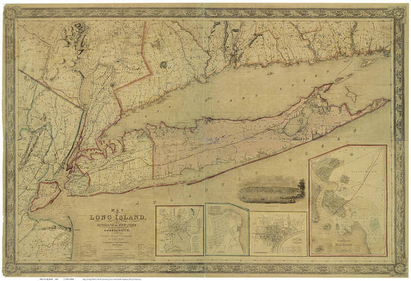 Wall Art - Drawing - Antique Maps - Old Cartographic Maps - Antique Map Of Long Island, New York, Connecticut, 1844 by Studio Grafiikka