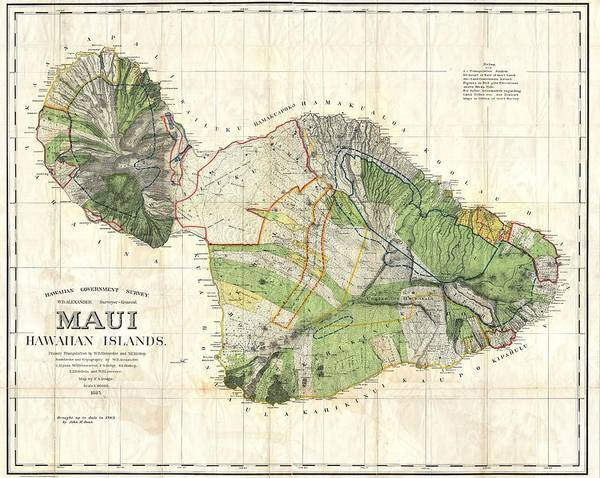 Wall Art - Drawing - Antique Maps - Old Cartographic Maps - Antique Map Of Maui, Hawaii, 1885 by Studio Grafiikka