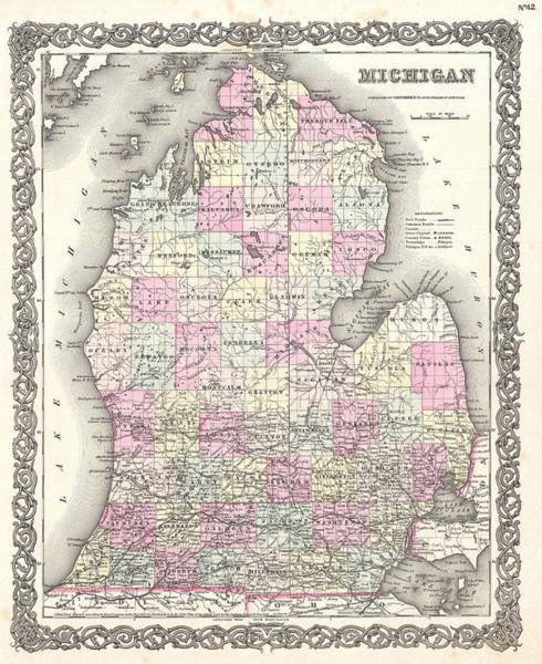 Michigan Drawing - Antique Maps - Old Cartographic Maps - Antique Map Of Michigan, 1855 by Studio Grafiikka
