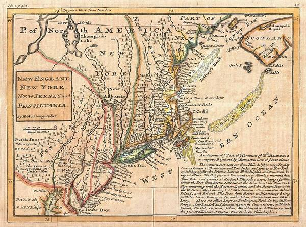 Wall Art - Drawing - Antique Maps - Old Cartographic Maps - Antique Map Of New York, New England And Pennsylvania, 1729 by Studio Grafiikka