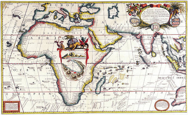 Atlantic Drawing - Antique Maps - Old Cartographic Maps - Antique Map Of Africa - Africa, Asia, Indian Ocean - 1690 by Studio Grafiikka