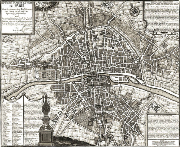 Wall Art - Drawing - Antique Maps - Old Cartographic Maps - Antique Map Of Paris, France, 1643 by Studio Grafiikka
