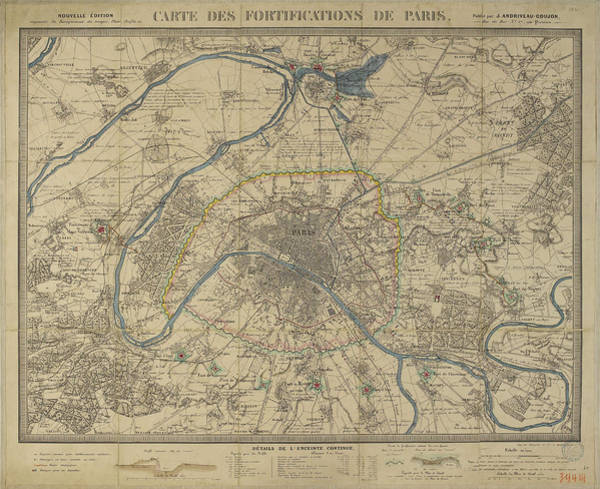 Wall Art - Drawing - Antique Maps - Old Cartographic Maps - Antique Map Of Paris by Studio Grafiikka