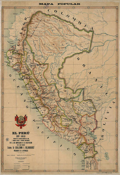 Wall Art - Drawing - Antique Maps - Old Cartographic Maps - Antique Map Of Peru, South America, 1913 by Studio Grafiikka