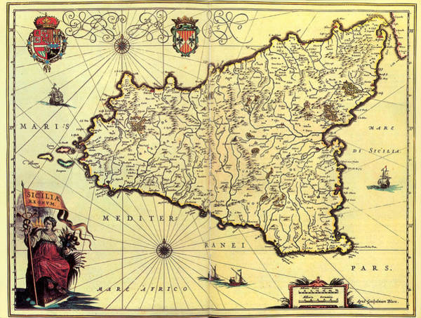 Wall Art - Drawing - Antique Maps - Old Cartographic Maps - Antique Map Of Sicily, Italy by Studio Grafiikka