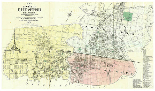 The City Drawing - Antique Maps - Old Cartographic Maps - Antique Map Of The City Of Chester, England, 1870 by Studio Grafiikka