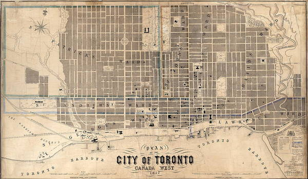 Toronto Drawing - Antique Maps - Old Cartographic Maps - Antique Map Of The City Of Toronto, Canada, 1857 by Studio Grafiikka