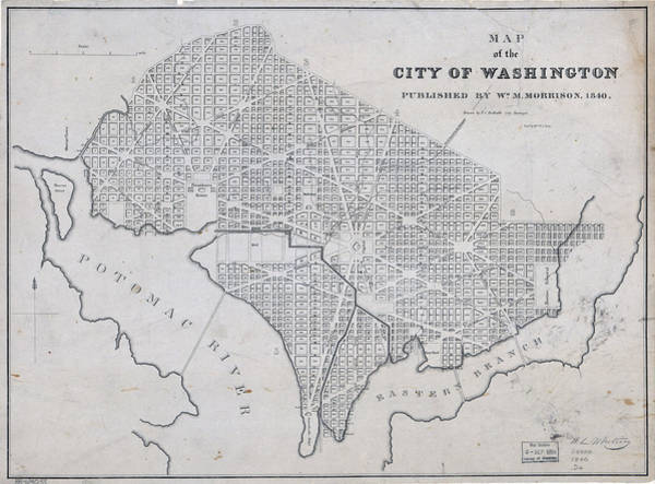 The City Drawing - Antique Maps - Old Cartographic Maps - Antique Map Of The City Of Washington, 1840 by Studio Grafiikka