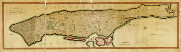 Wall Art - Drawing - Antique Maps - Old Cartographic Maps - Antique Map Of The Island Of Manhattan, New York, 1814 by Studio Grafiikka