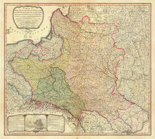 Wall Art - Drawing - Antique Maps - Old Cartographic Maps - Antique Map Of The Kingdom Of Poland And Lithuania, 1799 by Studio Grafiikka