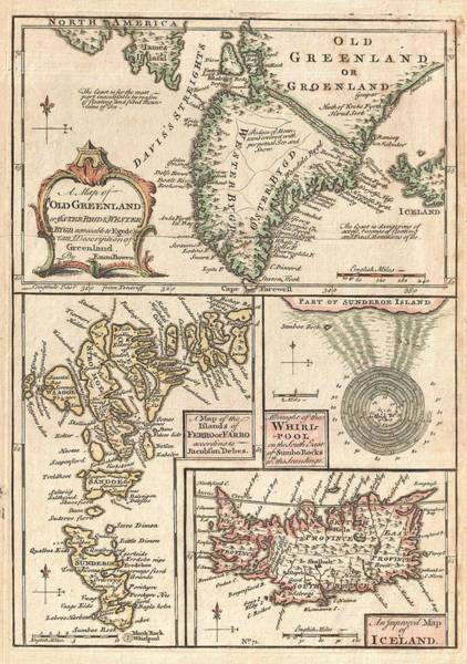 North Atlantic Wall Art - Drawing - Antique Maps - Old Cartographic Maps - Antique Map Of The North Atlantic Islands, Greenland, 1747 by Studio Grafiikka