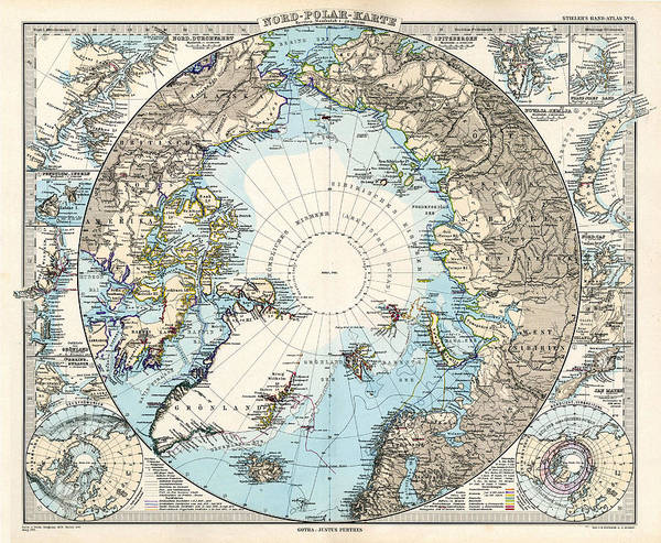 Wall Art - Drawing - Antique Maps - Old Cartographic Maps - Antique Map Of The North Pole And The Arctic Region by Studio Grafiikka