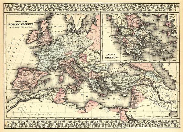 Ancient Drawing - Antique Maps - Old Cartographic Maps - Antique Map Of The Roman Empire, 1880 by Studio Grafiikka