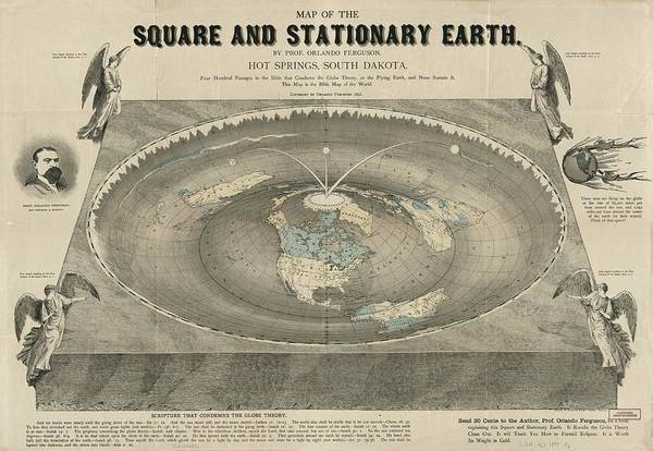 Wall Art - Drawing - Antique Maps - Old Cartographic Maps - Antique Map Of The Square And Stationary Earth - Flat Earth by Studio Grafiikka